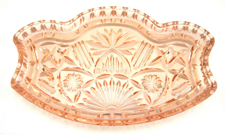 Vintage Pink Cut Glass Relish Tray and Table Serving Dish - 20's60's