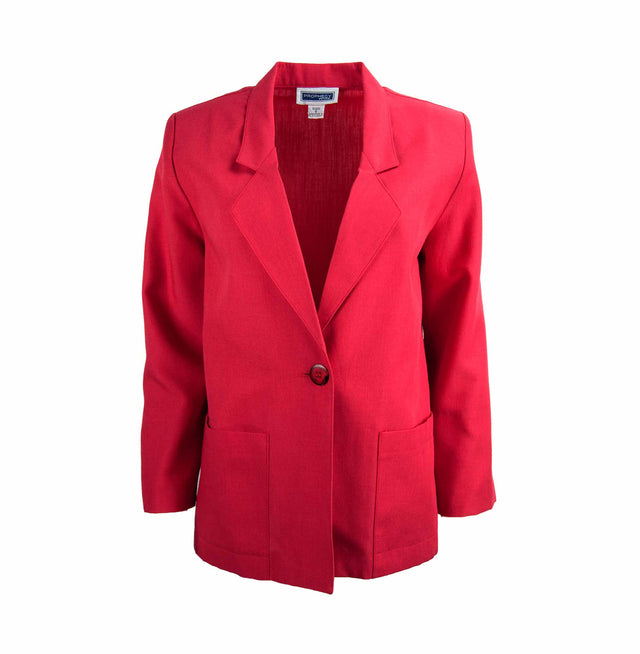 Vintage Lightweight Petite Blazer in Bright Red by Prophecy - Women's 6P