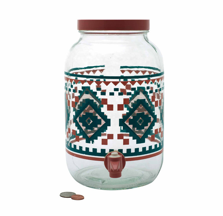 Vintage Santa Fe Style Glass Jar Set in Peach and Teal by AGC - 80's