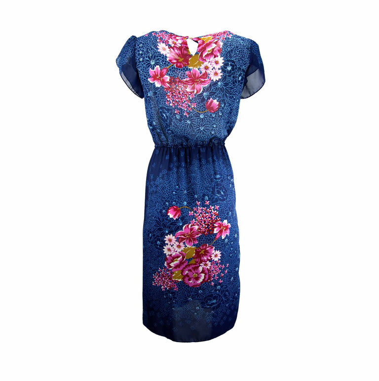 Vintage Sheer Navy Blue Floral Maxi Dress, Cap Pedal Sleeves by Florence of California - Women's S