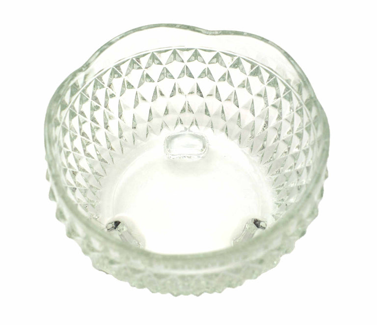 Vintage Small Glass Etched Diamond Waffle Pattern Bowl with 3 Feet - 50's / 60's