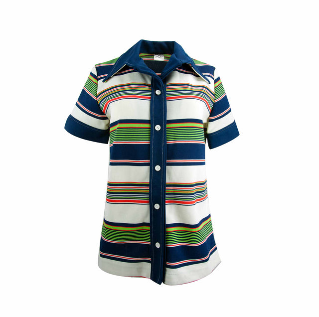 Vintage 60's Striped Navy and Green Winged Collar Shirt by Greggs Girl - Women's M/L