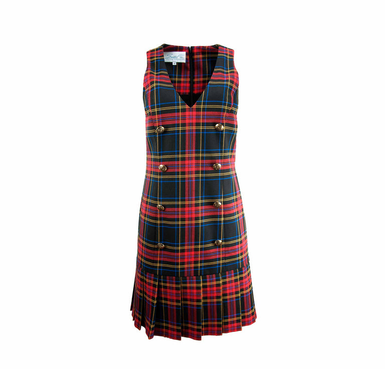 Vintage Tartan Plaid Dress, Gold-Toned Buttons, Pleated Skirt Santa Fe by Jim Tremblay - Women's M