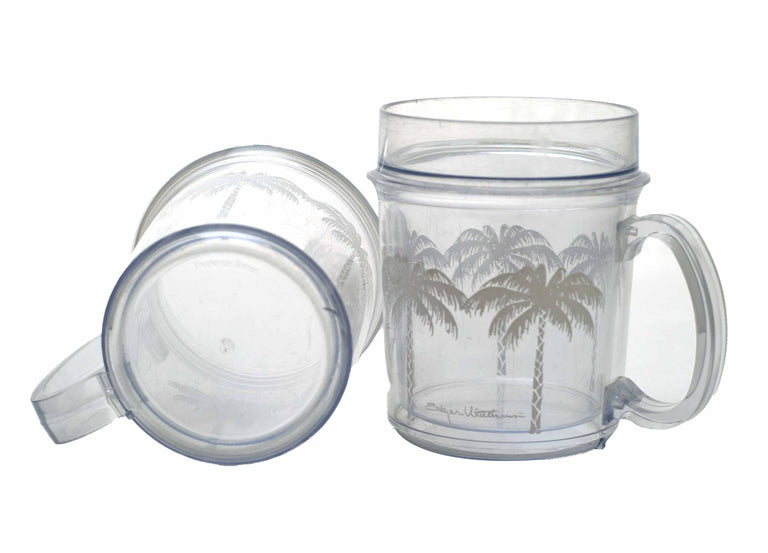Vintage Thermo-Serv Clear Plastic Double Wall Palm Tree Print Insulated Mugs - Set of 4 - 80's