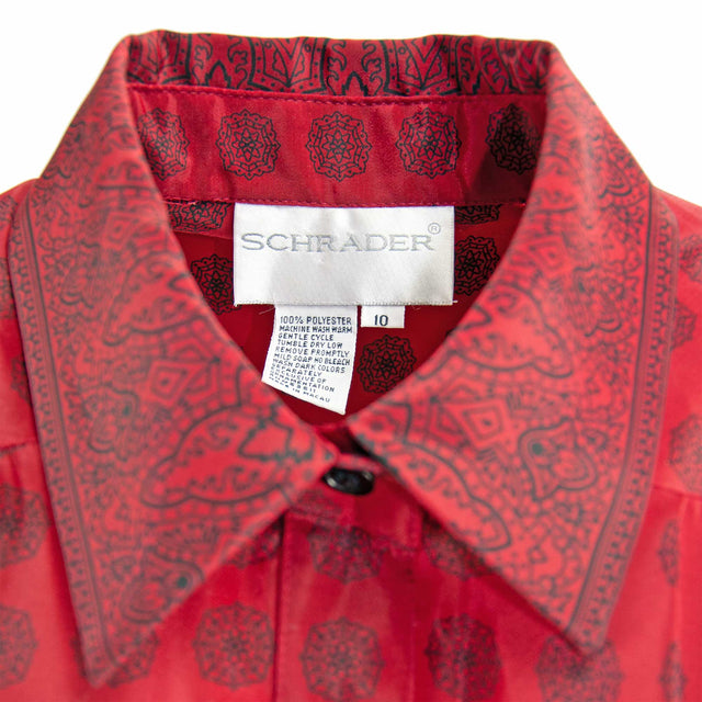 Vintage Blood Red and Burgundy Silky Shirt with Elastic Waistband by Schrader - Women's L