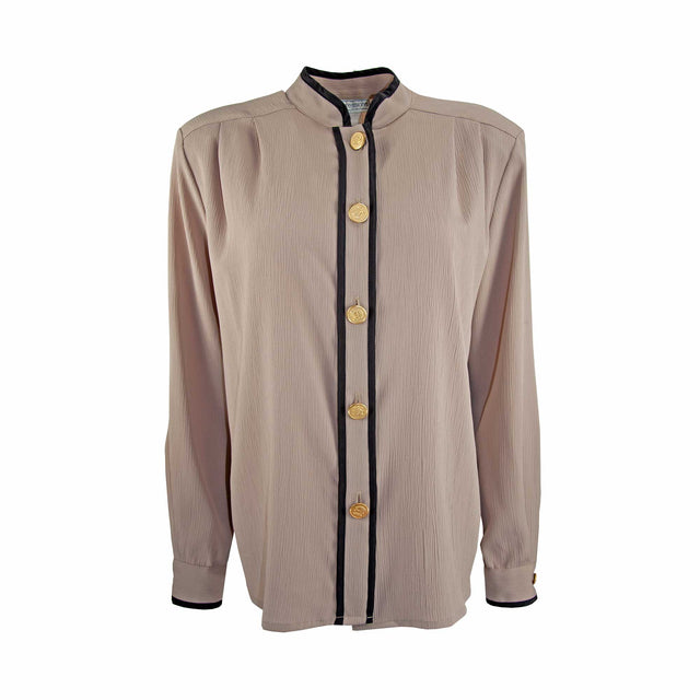 Vintage Taupe Button Down Mandarin Collared Shirt with Black Trim by Impressions - Women's L