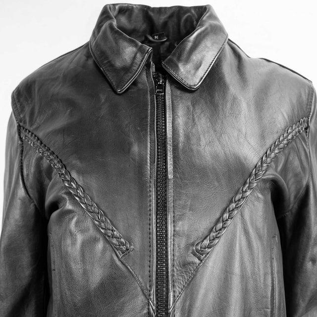 Vintage Black Leather Biker Jacket with Braided Trim by Unik - Women's M
