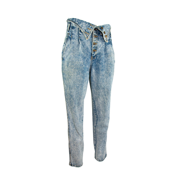 Vintage Acid Washed Super High Wasted Button Fly Jeans with Pockets by Express - Women's 11