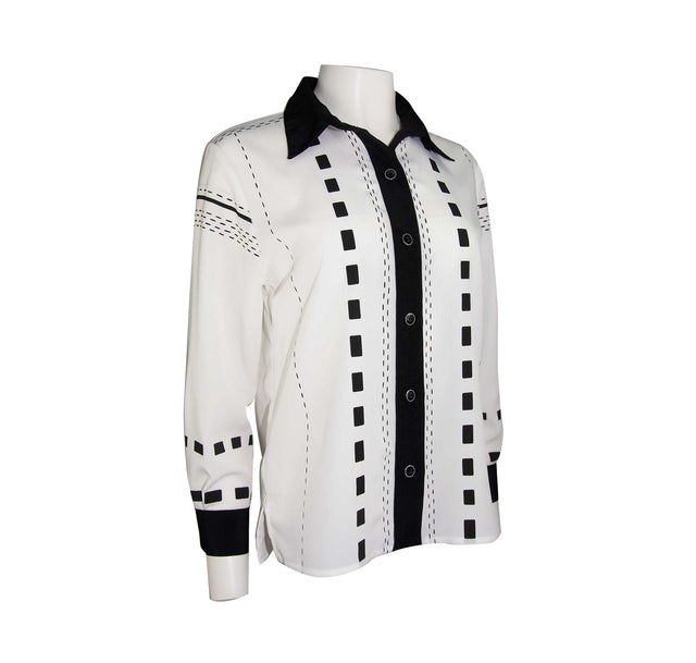 Vintage Black and White Button-Up Style Shirt with Button Sleeves by Drapers and Damon's - Women's S