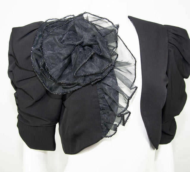 Vintage Black Crop Cocktail Jacket, Oversize Sleeves, Sheer Rosette by BB Collections - Women's 6