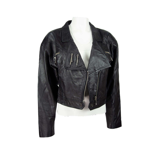 Vintage Black Leather Biker Jacket with Silver Zipper Detail by Jay Jacobs - Women's M