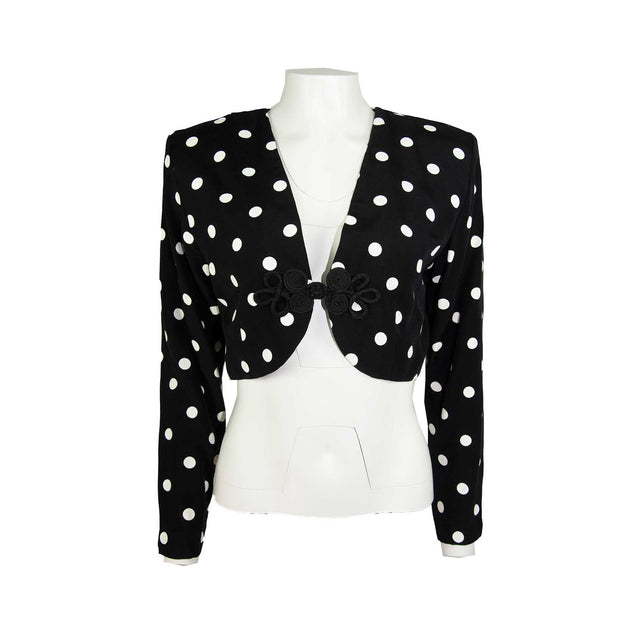 Vintage Black with White Polka Dot Crop Jacket with Frog Closure - Women's 12