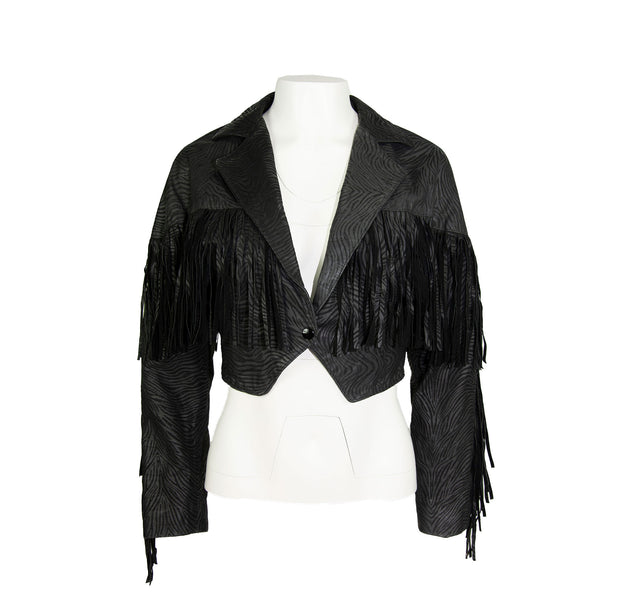Vintage Black Zebra Print/Texture Leather Crop Riding Jacket, All Around Fringe by Charm - Women's M