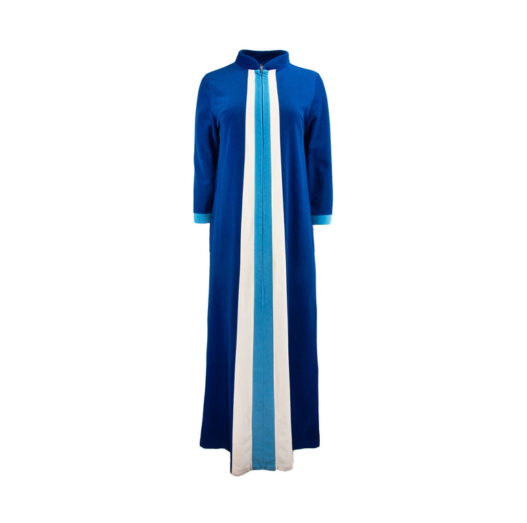 VIntage Blue and White Velour Striped Housedress with Mandarin Collar by JcPenny's - Women's 12