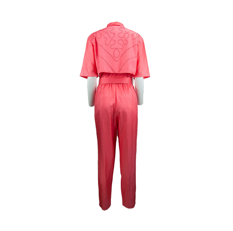 Vintage Bright Coral One-Piece Collared Pantsuit with Removable Belt by Joan Walters - Women's 16