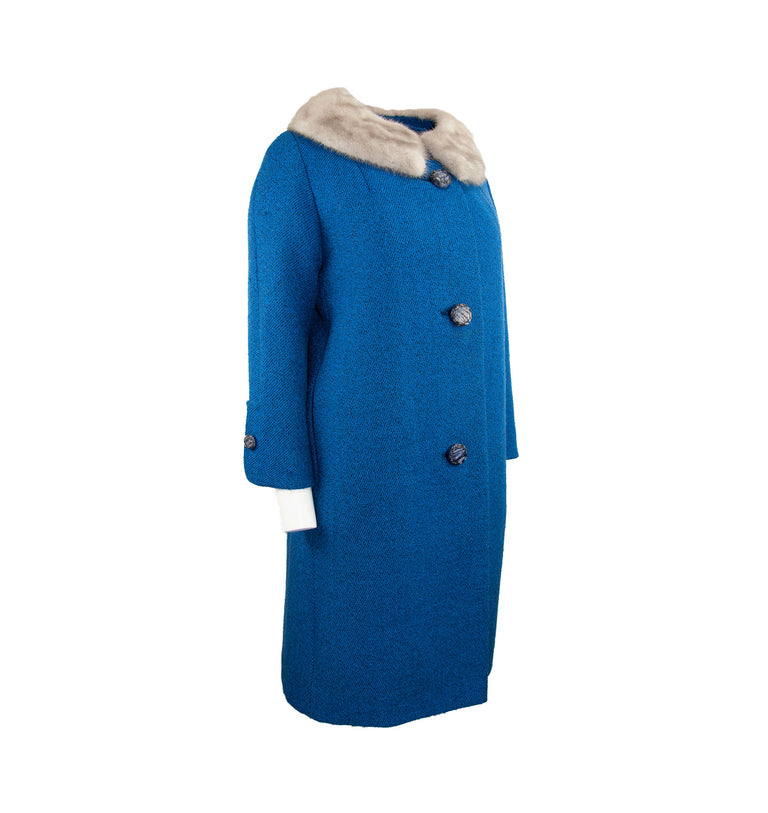 Vintage Brilliant Blue Grey Evening Coat with Real Fur Collar by McOwen and Thomson - Women's L