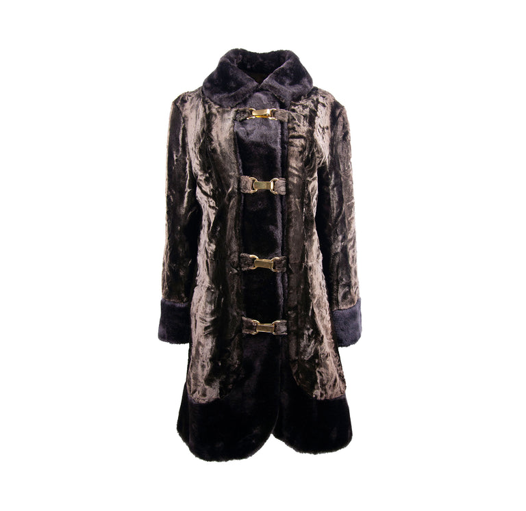 Vintage Brown and Black Nordic Faux Fur Trimmed Coat with Gold Clasps - Women's M