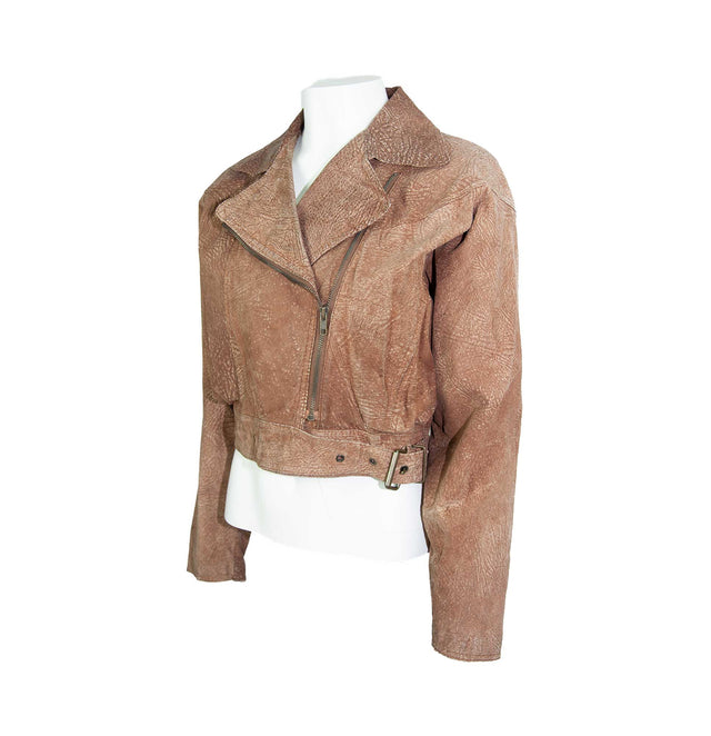 Vintage Brown Leather Dolman Style Fitted Scrunched Jacket by Wilsons - Women's M