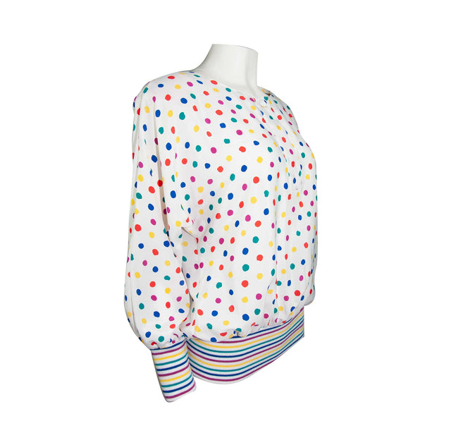 Vintage Colorful Polka Dot Style Shirt with Raglan Sleeves by Jamboree - Women's 12