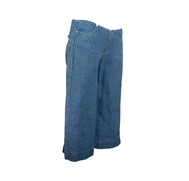 Vintage Denim Super Low Waist Style Clam Digger Highwater Wide Leg Pants by Tag Rag