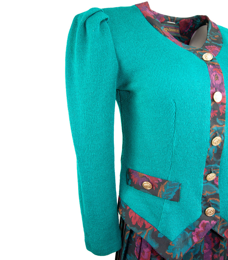 Vintage Elastic Waistband Pleated Skirt, Fitted Top Set in Paisley Teal by Just In Tyme - Women's 6
