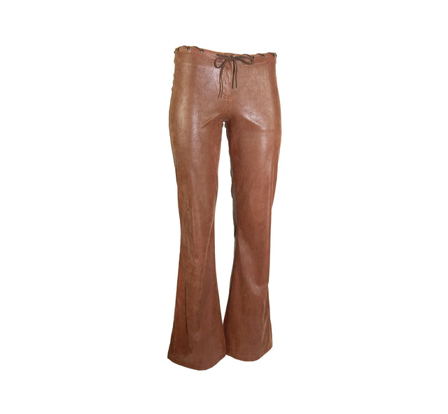 Vintage Women's Faux Brown Leather Boho Desert Pant, Real Weather Waist Detail by Maille Demoiselle