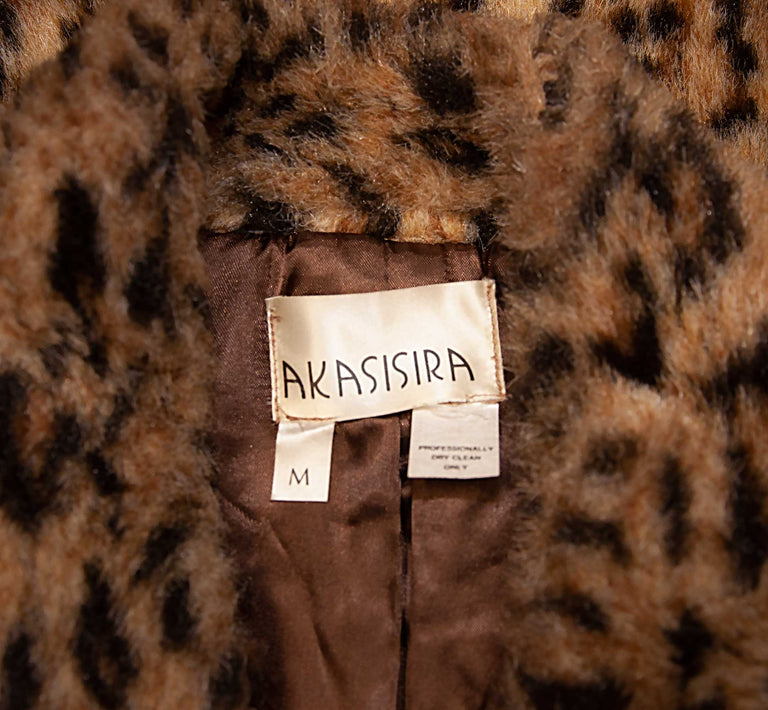 Vintage Faux Leopard Print Style Mandarin Collar Jacket by Akasisira - Women's M