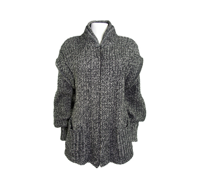 Vintage Grey Wool Chunky Mohair Sweater with Pockets and Layered Shoulders by Falcon - Women's L