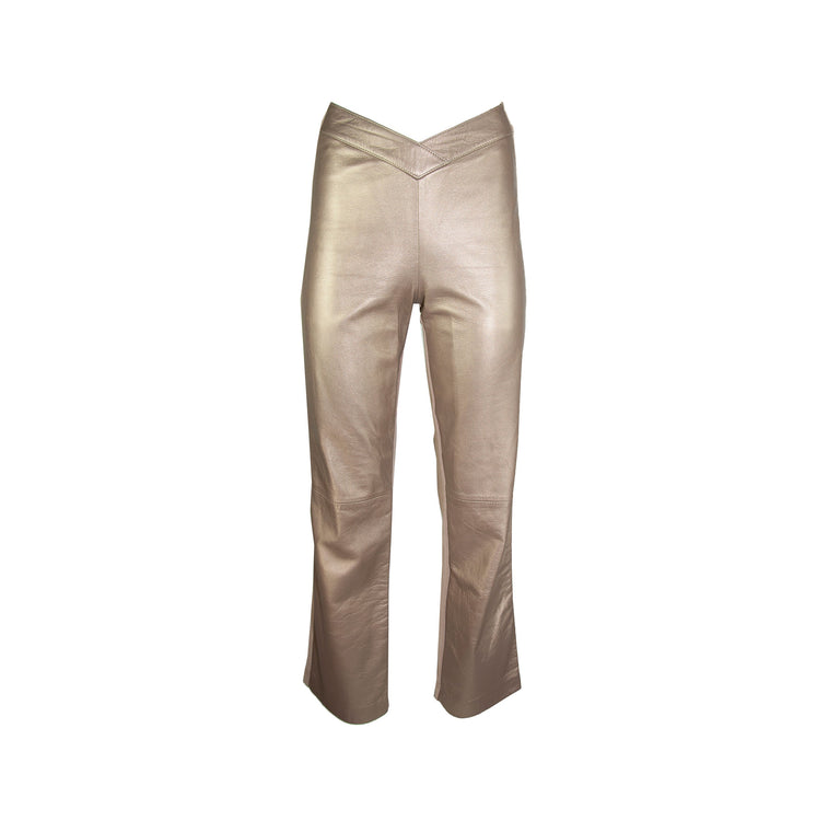 Vintage High V-Waisted Gold Leather Stretch Straight Leg Pants by Isabel - Women's 6