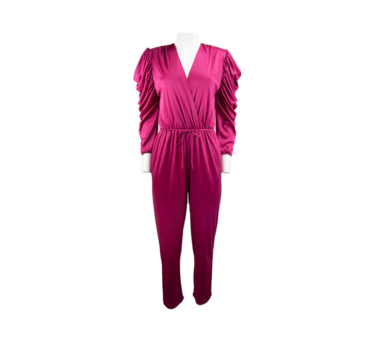 Vintage Hot Pink Tapered Jumpsuit with Cascade Sleeves, Elastic Waist by Diamond's Run - Women's M