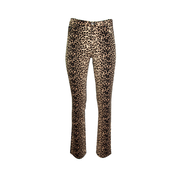 Vintage Leopard Print Straight Leg Stretch Pants with Zipper Fly by Bubble Gum - Women's 9/10
