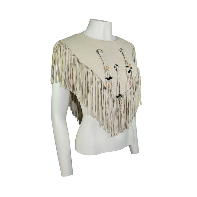 Vintage Made in USA Native American Tan Fringe Bib, Metal Beaded Braided Leather by HB - One Size