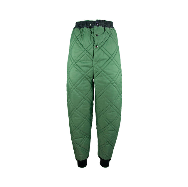 Vintage Military Green Quilted Army Style Pants with Black Elastic Band - Women's S