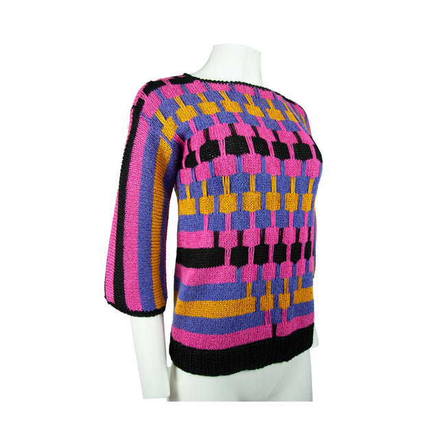 Vintage Multi Color Custom Style Hand Knit 3/4 Bell Sleeve Sweater by Robin Ratliff - Women's S