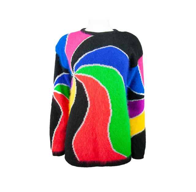 Vintage Multi Color Swirl Style Super Soft Angora and Lambswool Sweater by Rafaella - Women's S