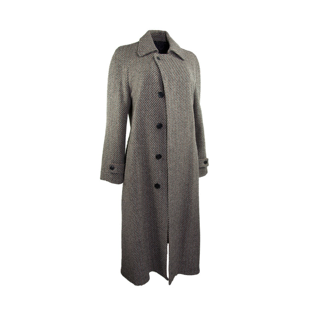 Vintage Multi-Tonal Textured Brown and Grey Lined Long Coat with Belt by Oak Tree - Women's L