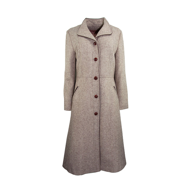 Vintage Oatmeal Herringbone Wool Blend Coat with Brown Button Sleeve Trim and Waist Tie - Women's M