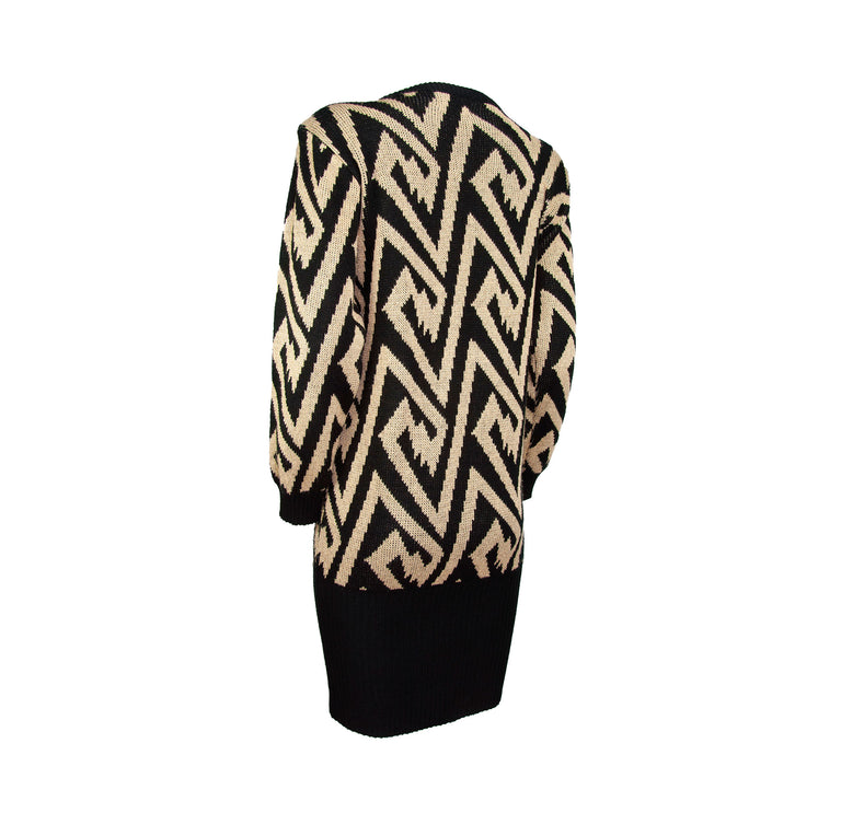 Vintage Oversize Gold Black Geo Ribbed Sweater Dress with Shoulderpads by Dressy Tessy - Women's S/M