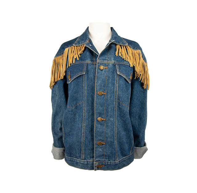 Vintage Oversized Style Jean Jacket with Leather Fringe Trim by Paris Express - Women's XXL