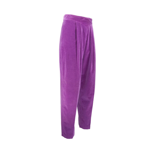 Vintage Purple Velvet Pleated Pants, Drop V Waistband w/ Pockets by California Place - Women's 13/14