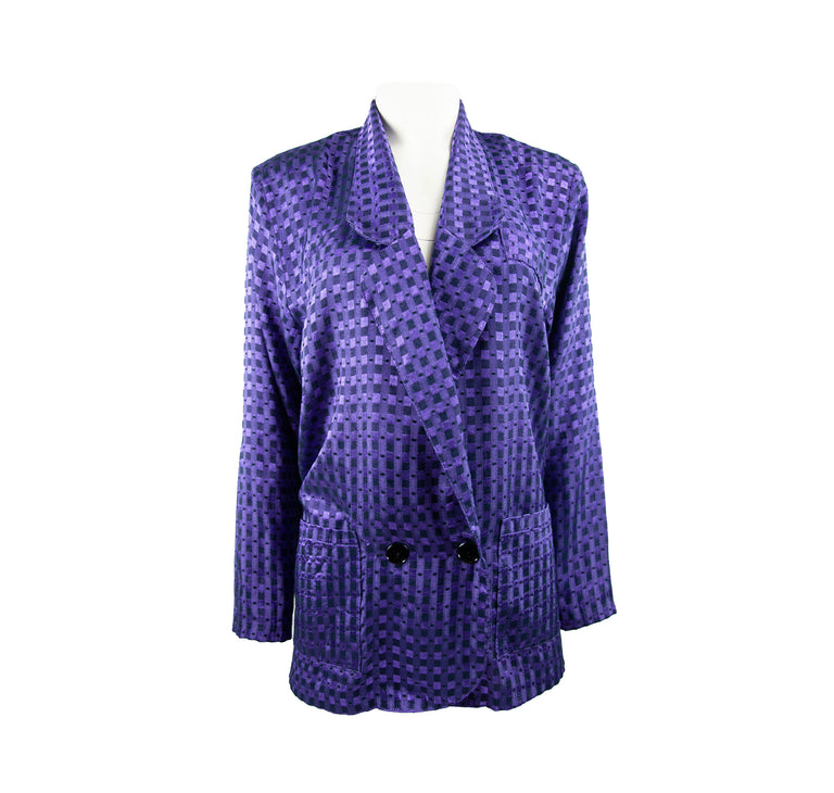 Vintage Shimmery Purple Checkered Lightweight Blazer by Danielle Young - Women's L