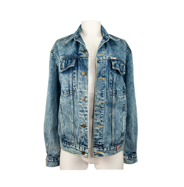 Vintage Stonewashed Classic Style Denim Jacket by Guess - Women's L