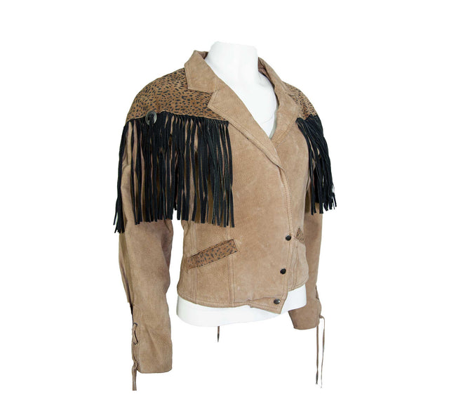 Vintage Tan Brown and Leopard Print Suede Jacket with Black Fringe - Women's M