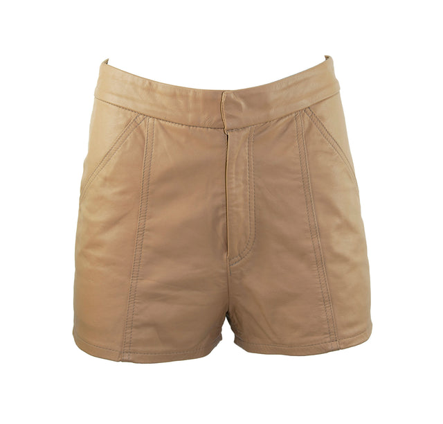 Vintage Tan Custom Leather 2-Pocket Zip Fly Shorts - Women's Waist 28