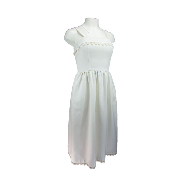 Vintage White Empire Waisted Dress with Waffle Textured Fabric and Lace Trim by Lanz - Women's S