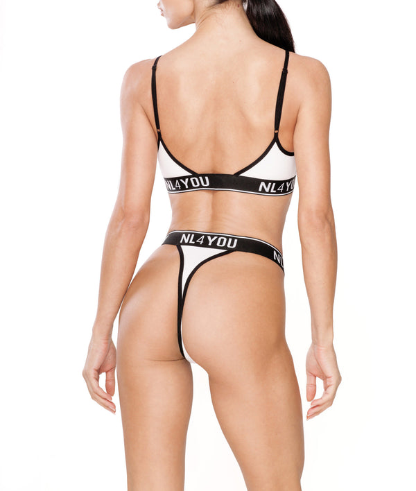 White & Black Triangle Bra & Thong