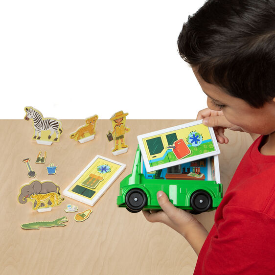 Magnetivity Magnetic Building Play Set - Safari Rescue Truck - Happki