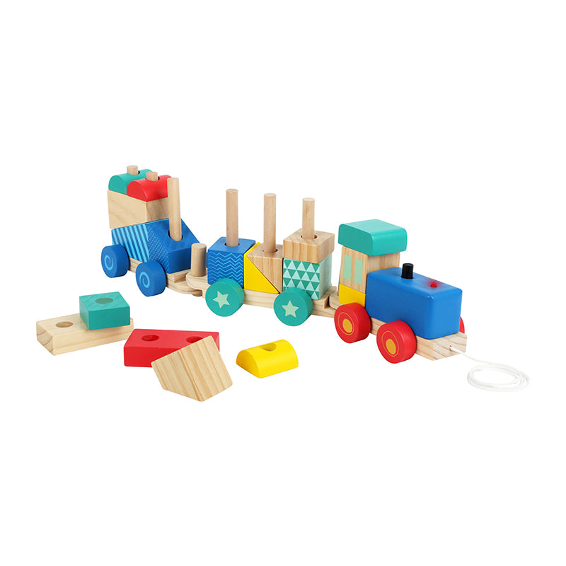 Wooden train sorting game with sound and light - Happki