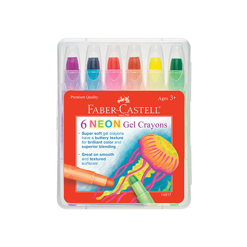 6 Neon Gel Crayons in Storage Case - Happki
