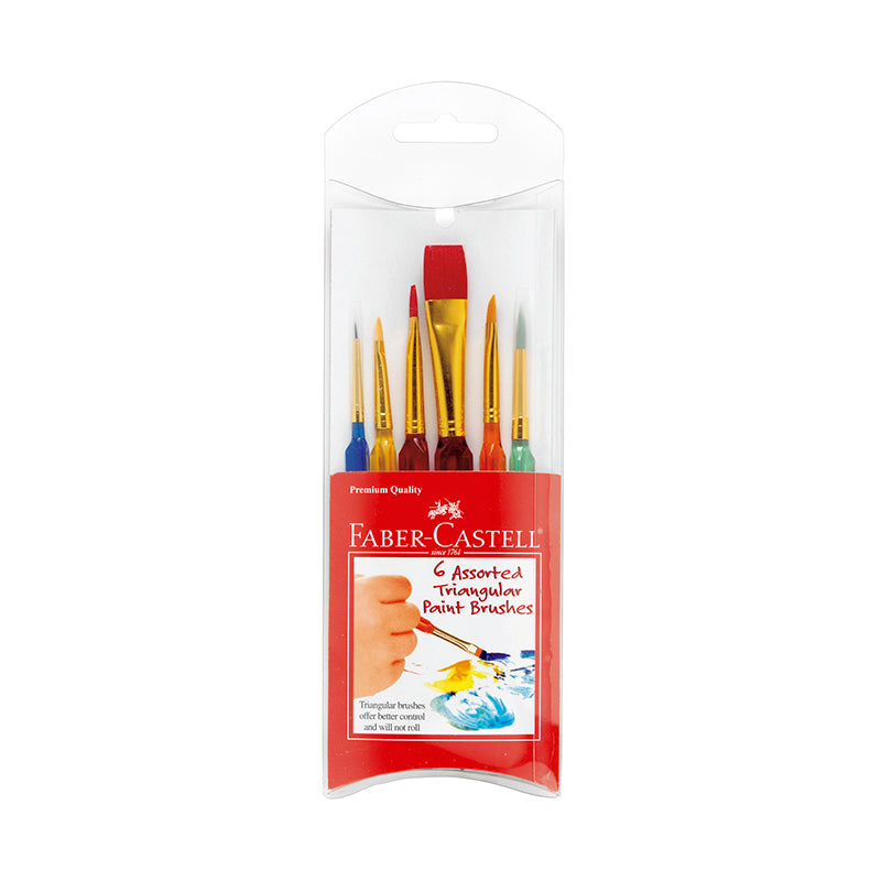 6 Assorted Triangular Paint Brushes - Happki